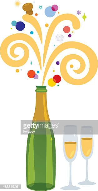 champagne celebration - champagne cork stock illustrations, clip art, cartoons, & icons