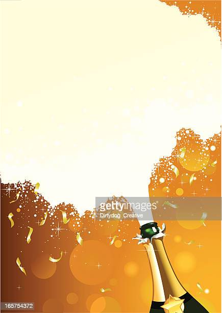 champagne celebration with fizz and confetti - champagne region stock illustrations, clip art, cartoons, & icons
