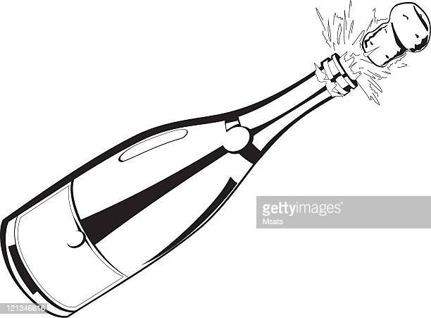 champagne explosion - champagne cork stock illustrations, clip art, cartoons, & icons