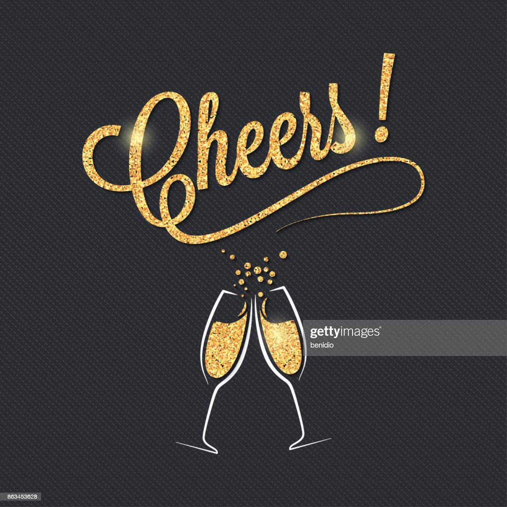 Champagne glass banner. Cheers party celebration design background.