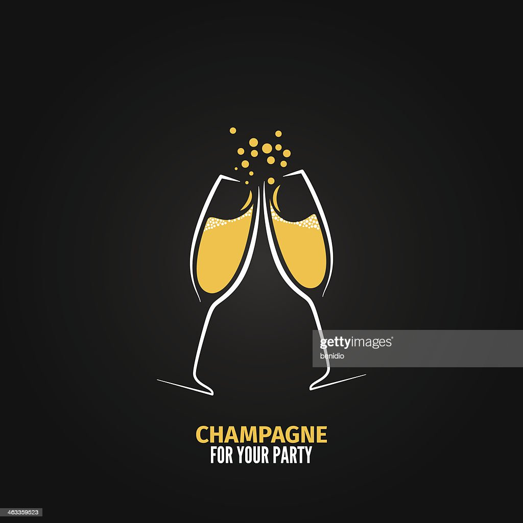 champagne glass design party menu background