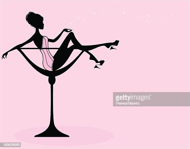 champagne glass girl - en búsqueda stock illustrations