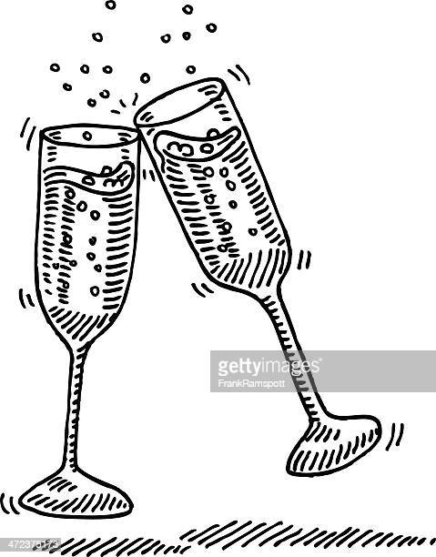 Champagne Glasses Cheers Drawing