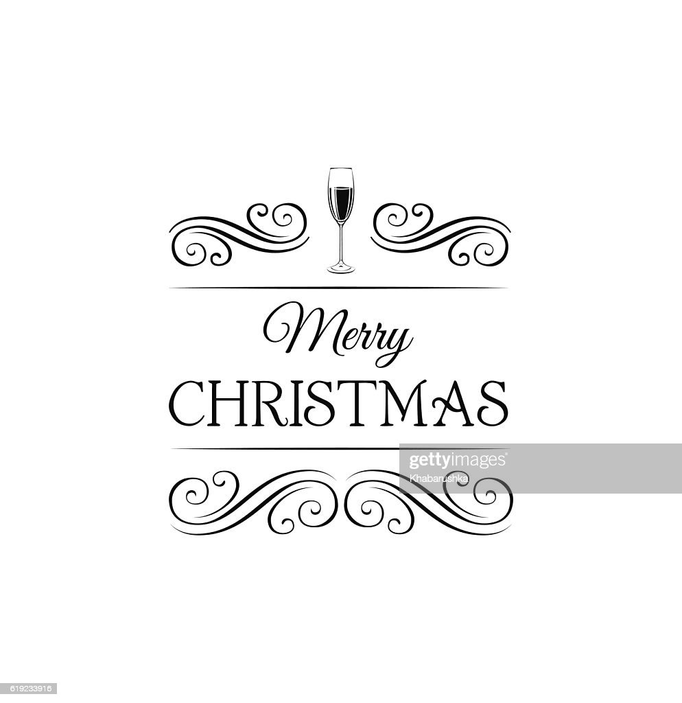champagne glasses merry christmas and happy new year label template vector art