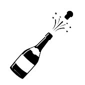 Champagne icon. Black silhouette of a champagne bottle. Iconography. Vector illustration.