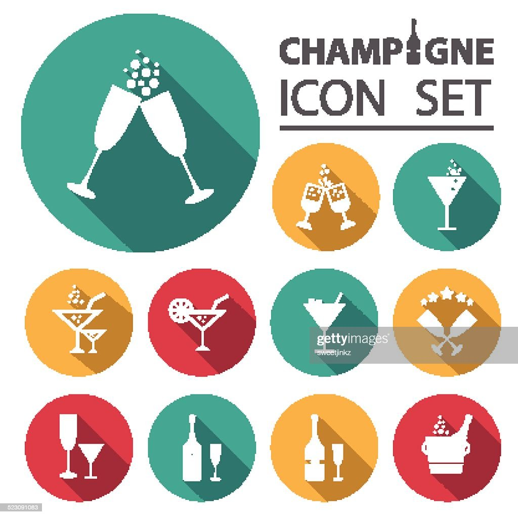 Champagne icons set.Vector/Illustration.