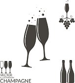 Champagne. Isolated wineglasses and bottles