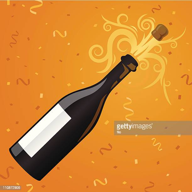 champagne party - champagne cork stock illustrations, clip art, cartoons, & icons