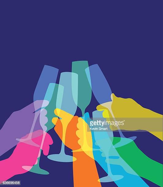 ilustrações de stock, clip art, desenhos animados e ícones de torrada de champanhe - bebida alcoólica