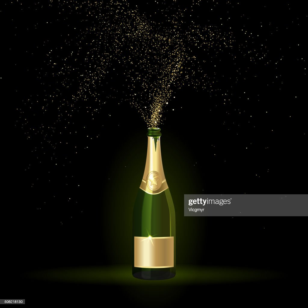 Champagne with Gold Confetti