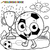Champion cartoon soccer ball holding trophy coloring book page