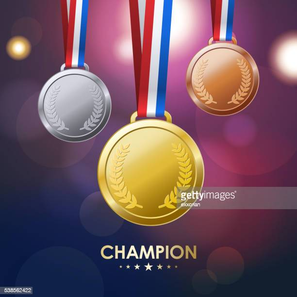 champion medals - the olympic games stock illustrations