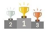 Championish cups flat icons