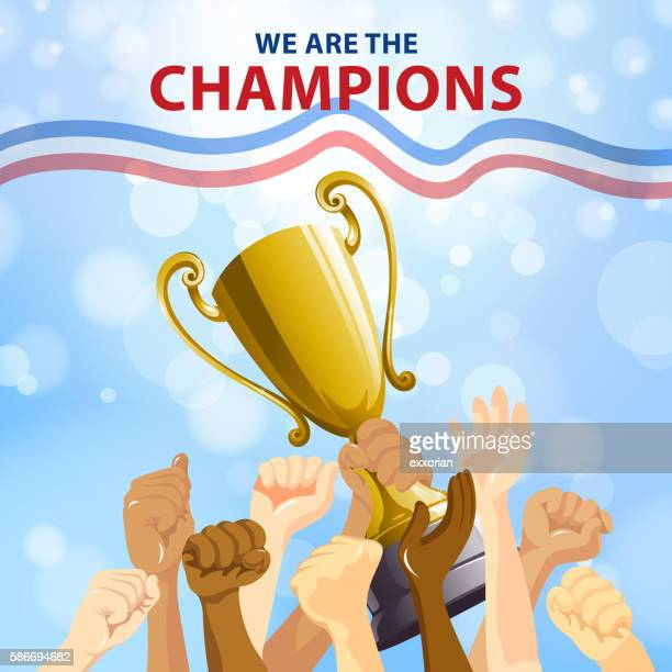 champions team celebration - sports team stock illustrations, clip art, cartoons, & icons