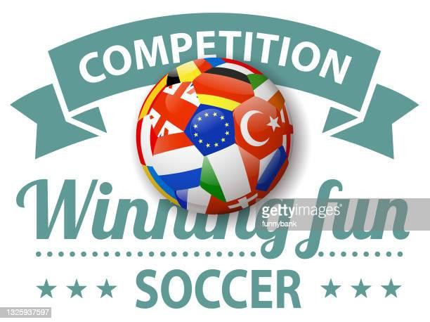 championship label - international team soccer stock illustrations
