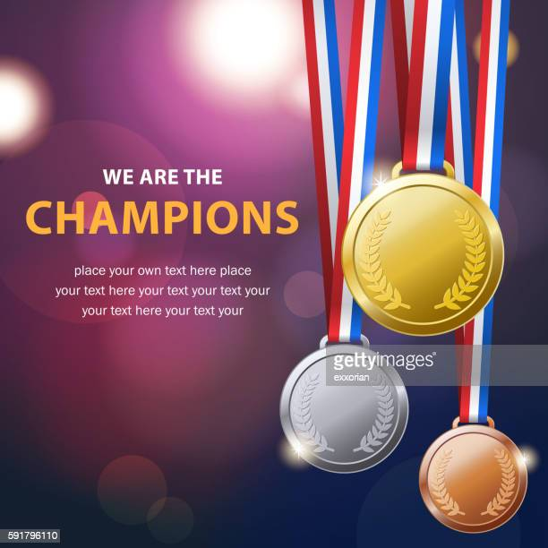 championship medal set - sport set competition round stock illustrations