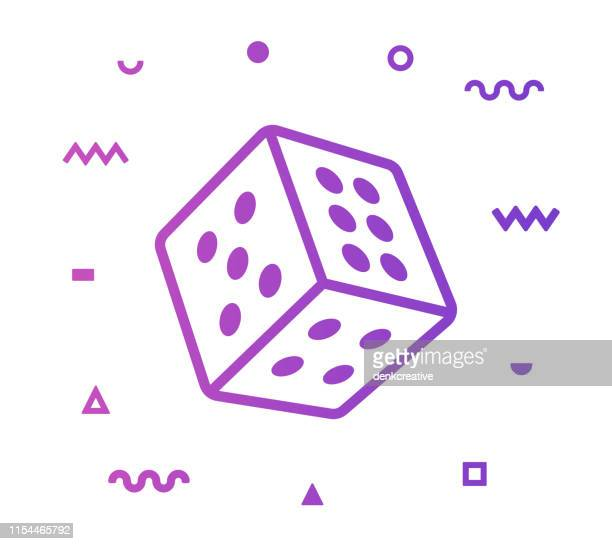 chance line style icon design - dice stock illustrations