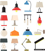Chandeliers, modern lamps on desk and floor in light interior. Vector illustrations in flat style