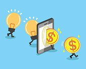 Change bulb idea to money with smartphone