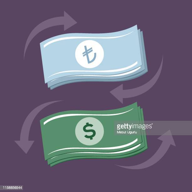 change money - turkish lira stock illustrations