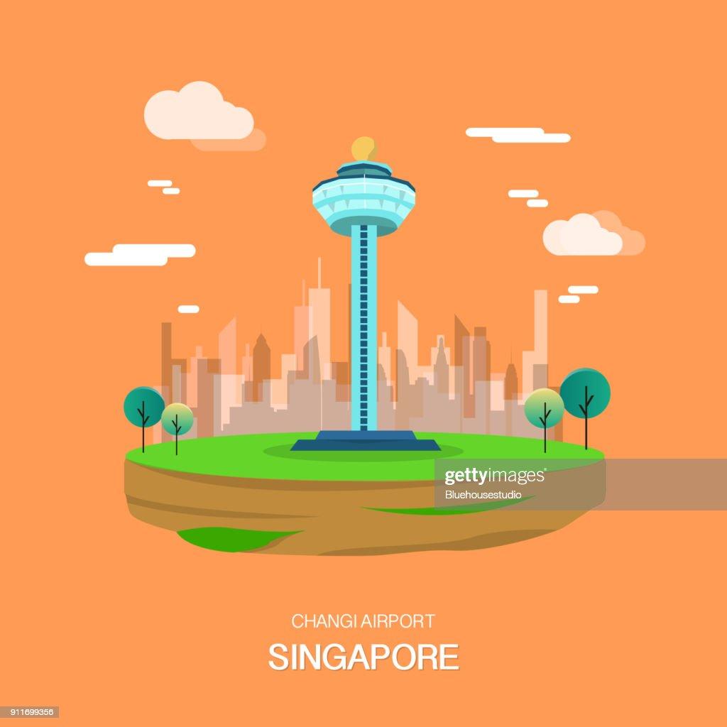 Changi airport landmark in Singapore illustrataion design.vector