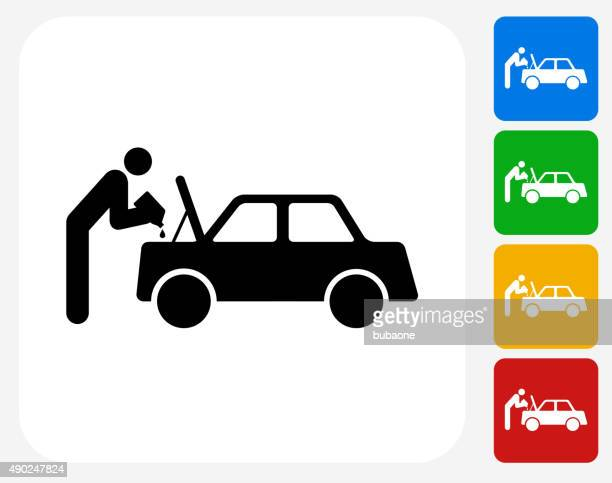 changing car oil icon flat graphic design - vehicle hood stock illustrations, clip art, cartoons, & icons