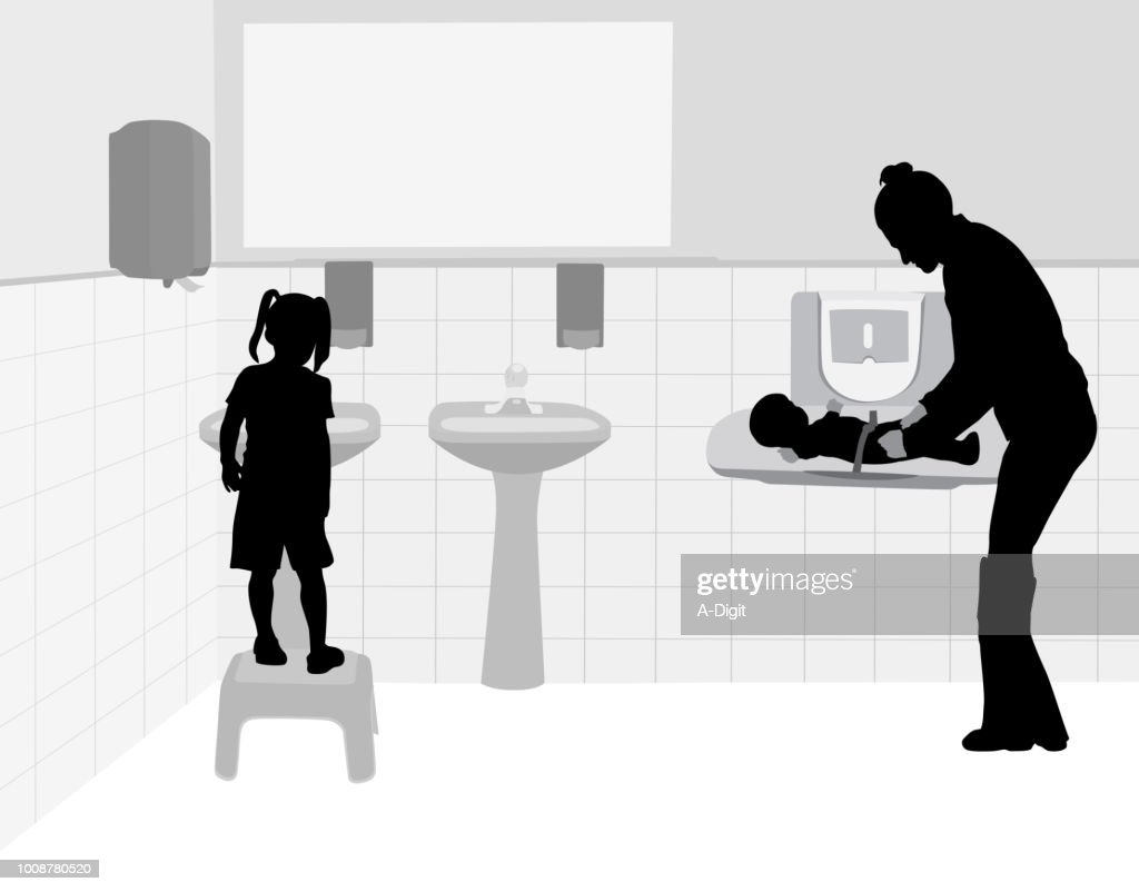 Changing Diapers Daycare Washroom : stock illustration