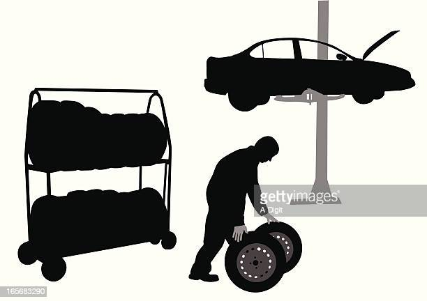 changing tires vector silhouette - sedan stock illustrations, clip art, cartoons, & icons