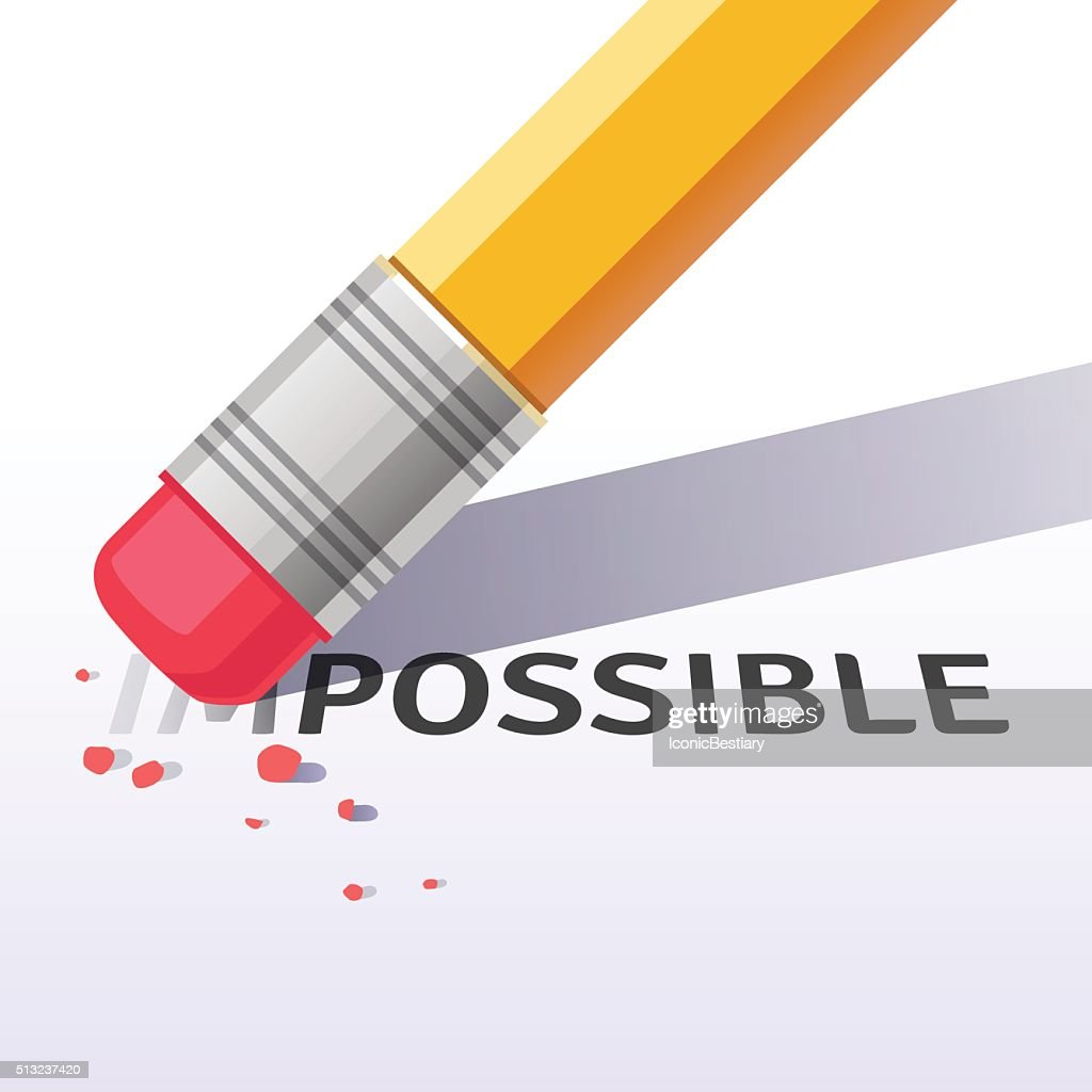 Changing word impossible to possible with eraser