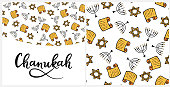 Chanukah Design Elements in doodle style. Traditional attributes of the menorah, Torah, star of David. Seamless pattern, hand lettering