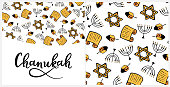 Chanukah Design Elements in doodle style. Traditional attributes of the menorah, Torah, star of David, dreidel. Seamless pattern, hand lettering