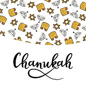 Chanukah Design Elements in doodle style. Traditional attributes of the menorah, Torah, star of David. hand lettering