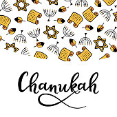 Chanukah Design in doodle style. Traditional attributes of the menorah, Torah, star of David, dreidel. hand lettering