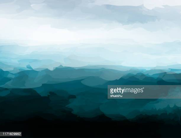 chaos style mountain landscape vector watercolor pattern poster - horizontal stock illustrations