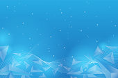 Chaotically particle and polygons flying in space. Abstract vector blue mesh background.