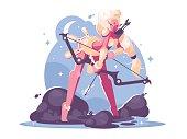 Character archer cartoon girl elf