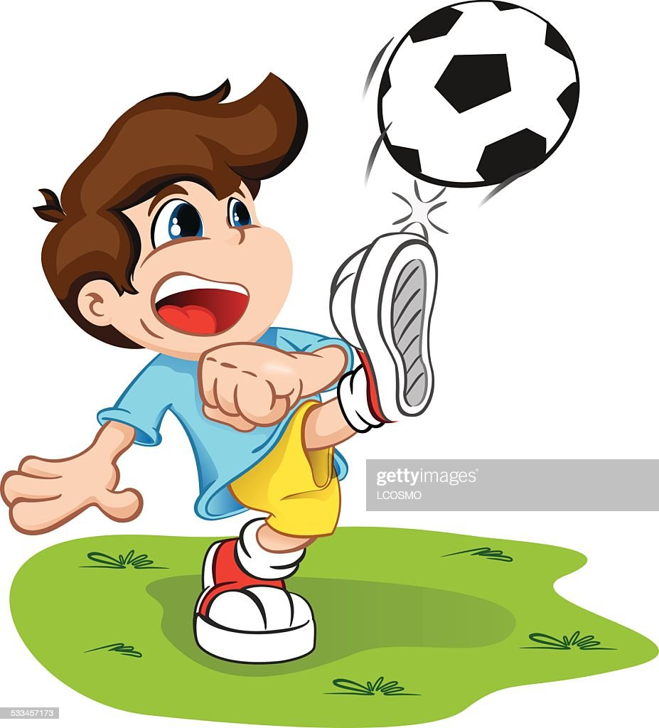 Character child kicking a ball