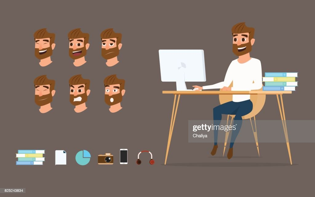 Character design. Businessman working on desktop computer with different emotions on face.