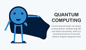 Character design in concept of Quantum Computing. Vector illustration about future technology of computer system for web banner, mascot creator, cover and template.