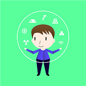 Character design of man who is clever. Vector of the boy isolated on green background.
