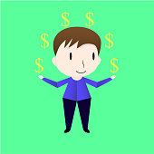 Character design of man who is exchanging money. Vector of the boy isolated on green background.