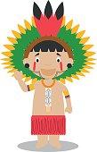 Character from Amazon Region in Brazil and Venezuela. Vector Illustration.