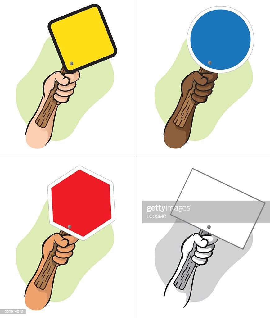 Carácter mano sosteniendo un poste indicador : Arte vectorial