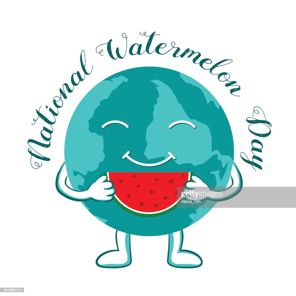 A character in the form of a globe holds a piece of watermelon in his hands. National Watermelon Day.