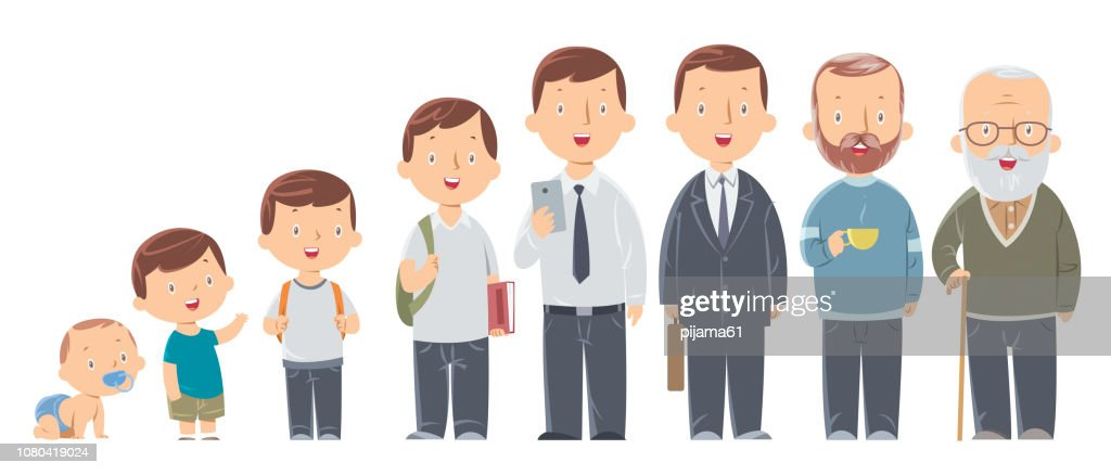 Character of a man in different ages. The life cycle. A baby, a child, a teenager, an adult, an elderly person. : stock illustration