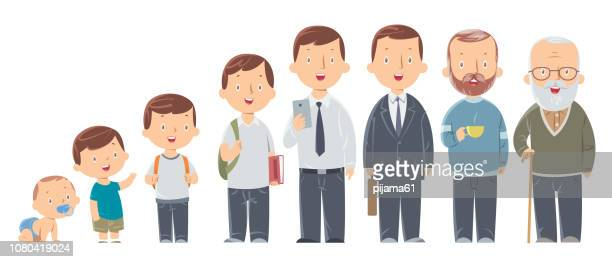 character of a man in different ages. the life cycle. a baby, a child, a teenager, an adult, an elderly person. - avatar stock illustrations