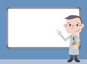 character pointing whiteboard, doctor or professor wearing white coat, vector illustration