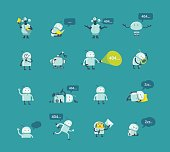 Character robot set Different situations. 404 error page not found funny repairs. Vector Icons