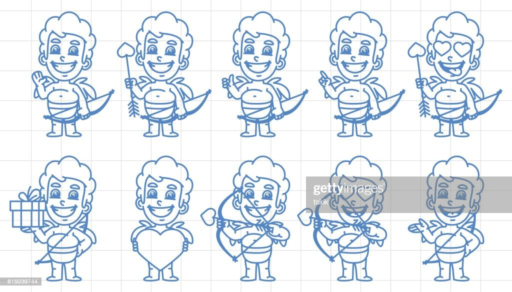 Character set cupid in various versions scribble part 1