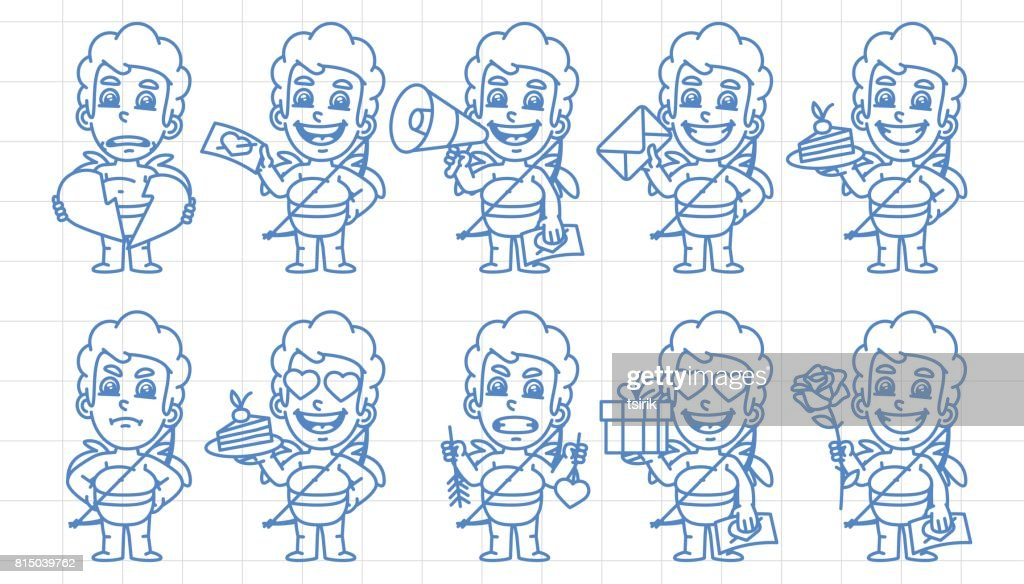 Character set cupid in various versions scribble part 2